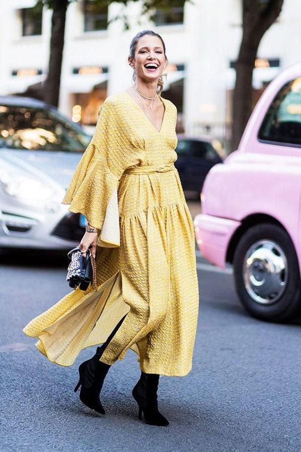 Wrap dress giallo