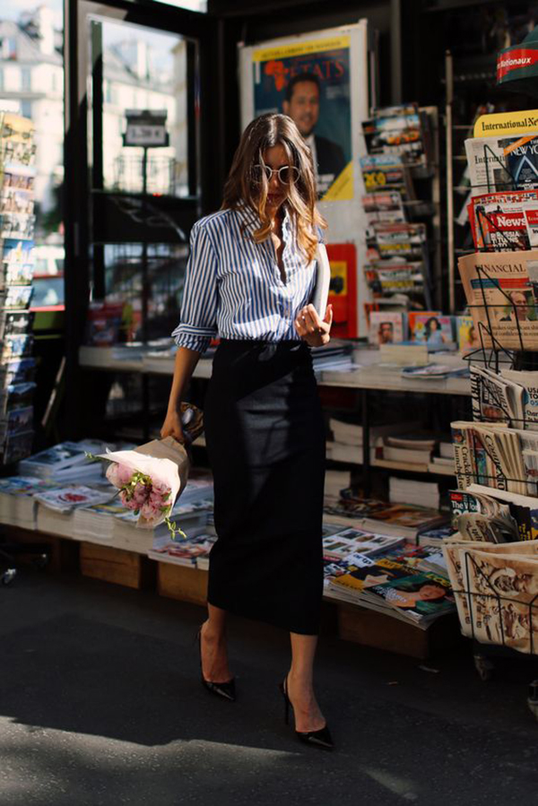 Pencil skirt e camicia