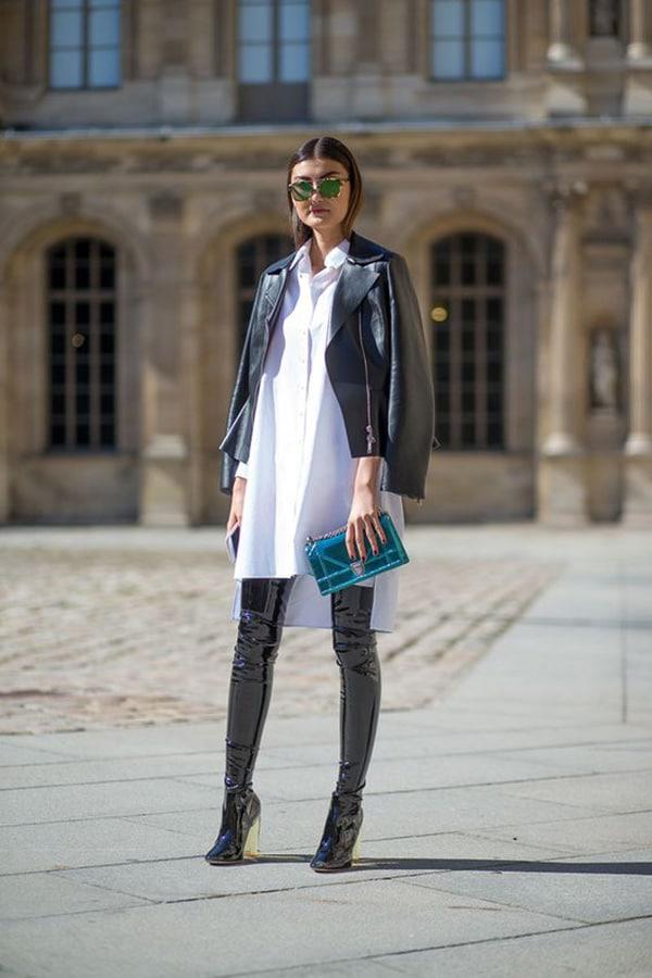 Stivali sopra il ginocchio e giacca di pelle