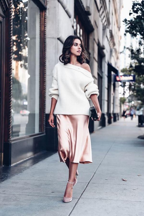 Gonna rosa e maglione