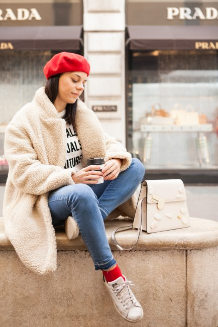 cappotto peluche H&M outfit