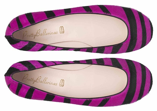 Pretty pump purple and black stripey poni - pair