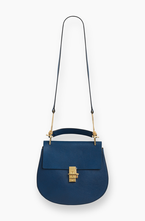 DREW BAG IN GRAINED LEATHER factoey blue