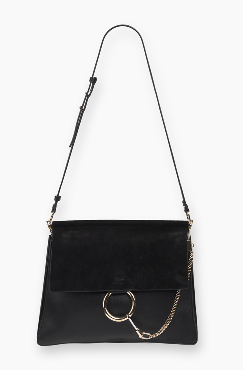 FAYE BAG IN SMOOTH CALFSKIN AND SUEDE CALFSKIN black