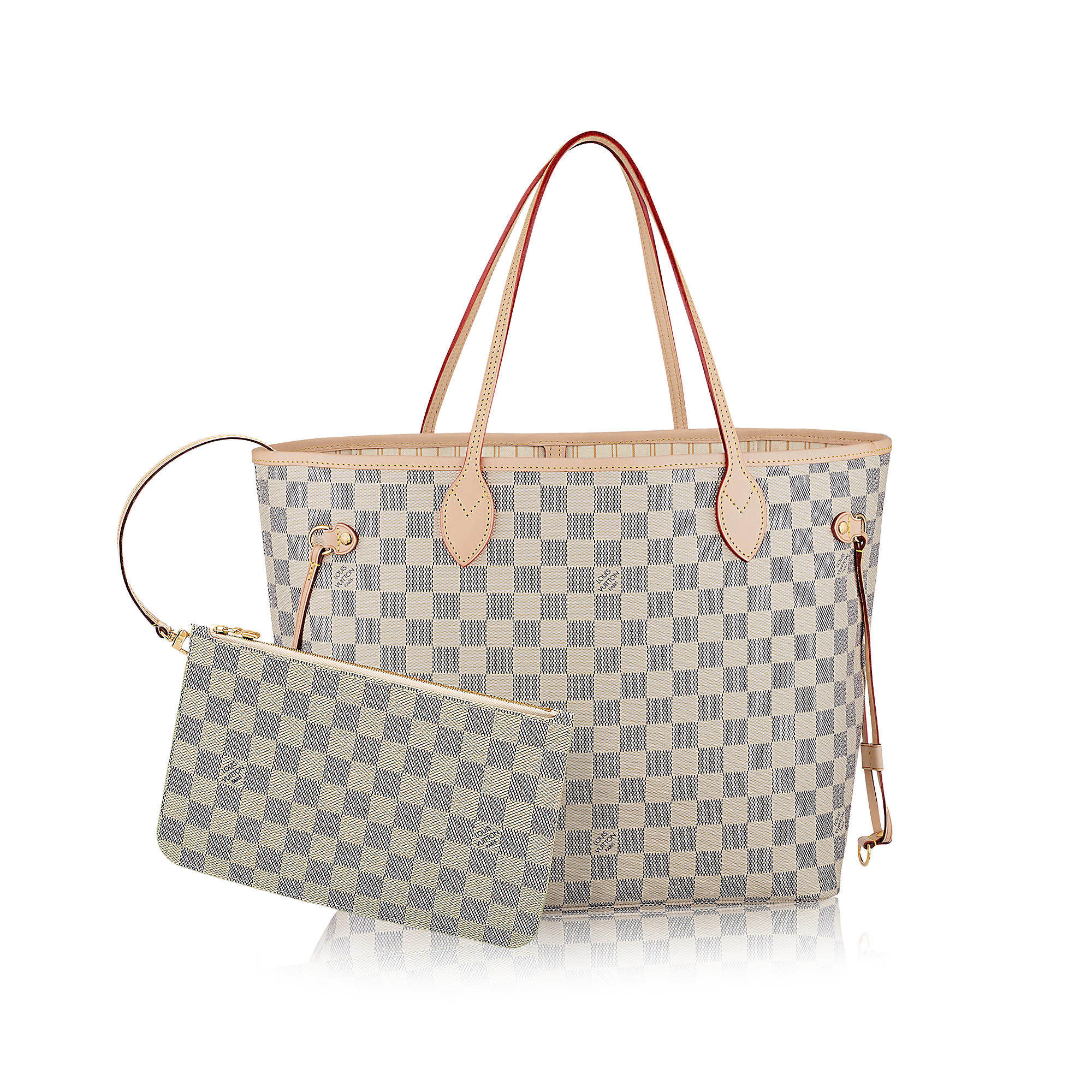 Neverful MM in Tela Damier Azur