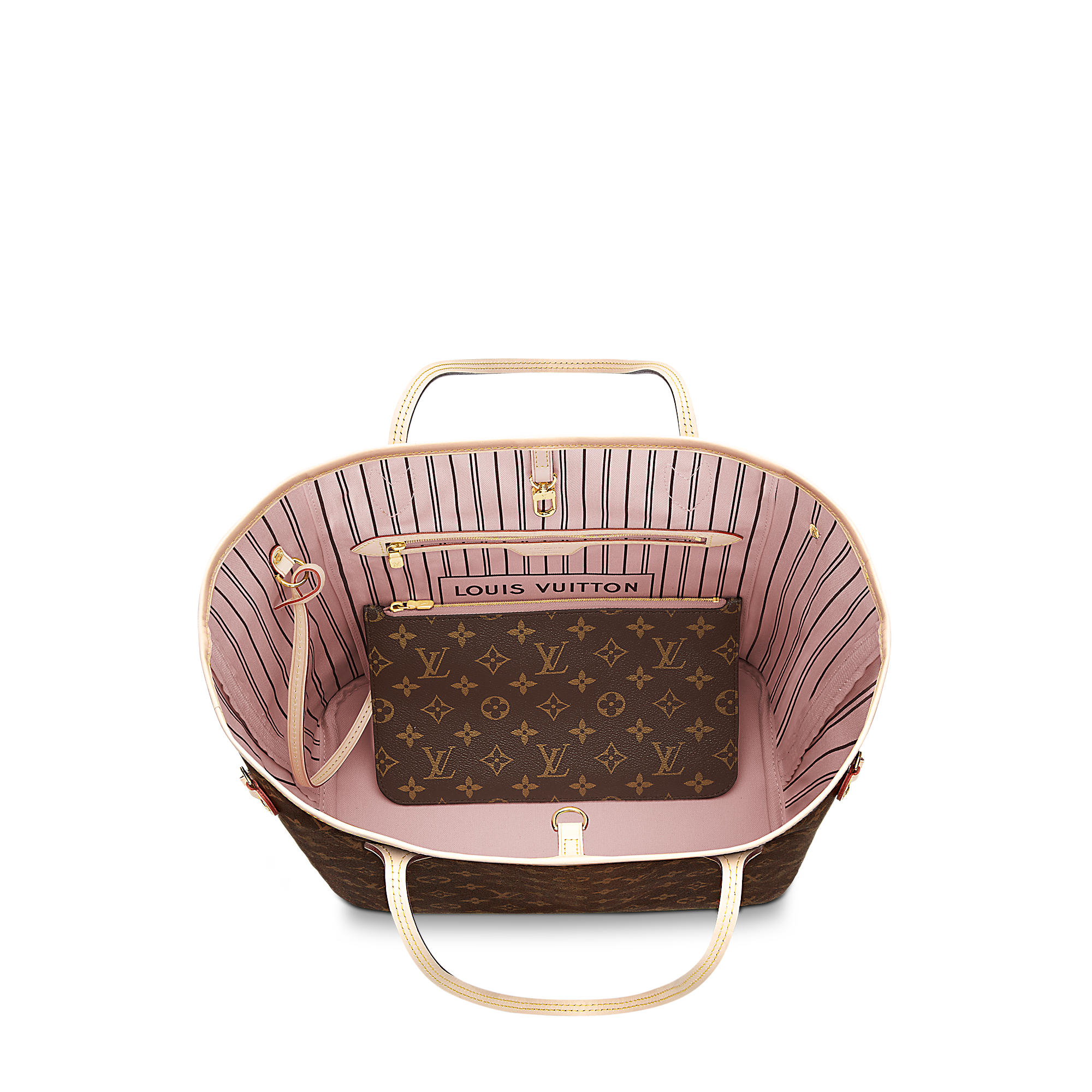Neverful MM in Tela Monogram; interno rosa ballerine