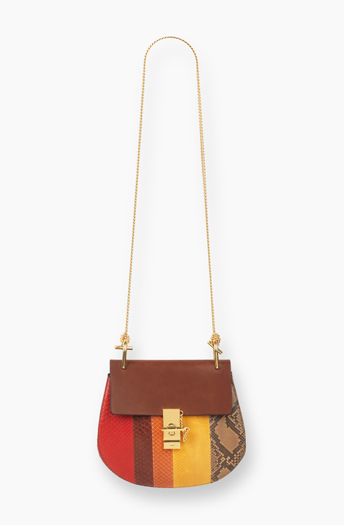 SMALL DREW BAG IN PYTHON STRIPES AND VEGETAL CALFSKIN multicolor