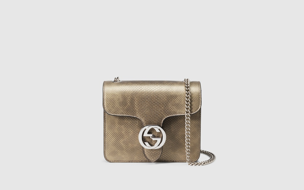 borsa a spalla gucci interlocking in pelle di serpente