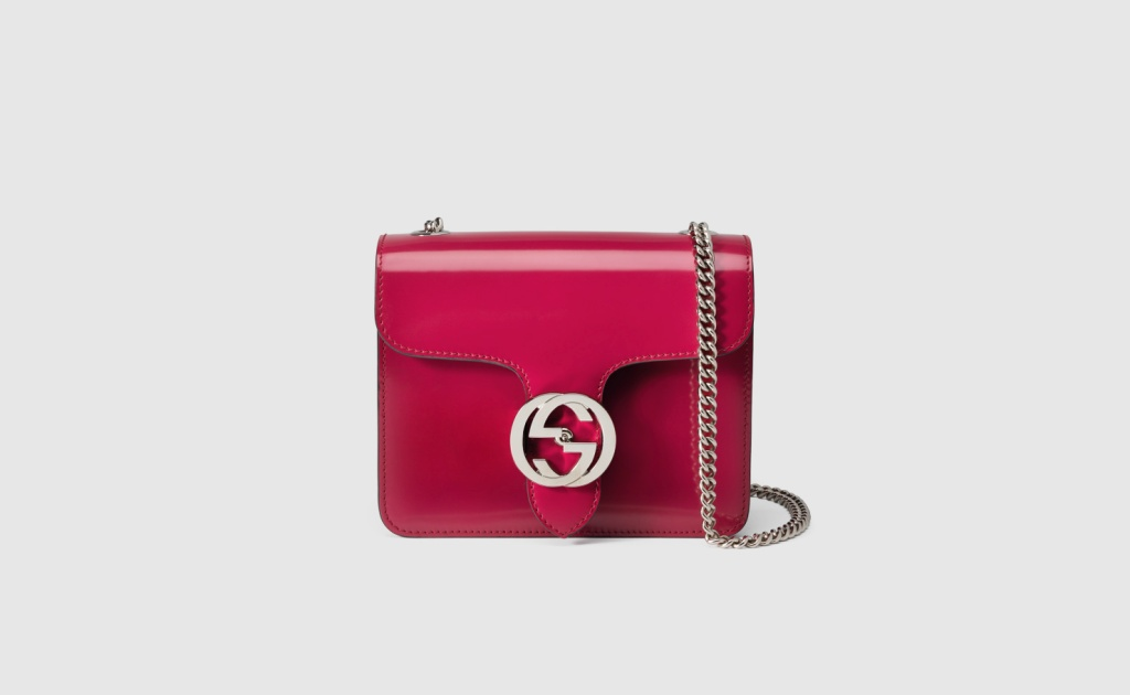 borsa a spalla gucci interlocking in pelle spazzolata lucida 3