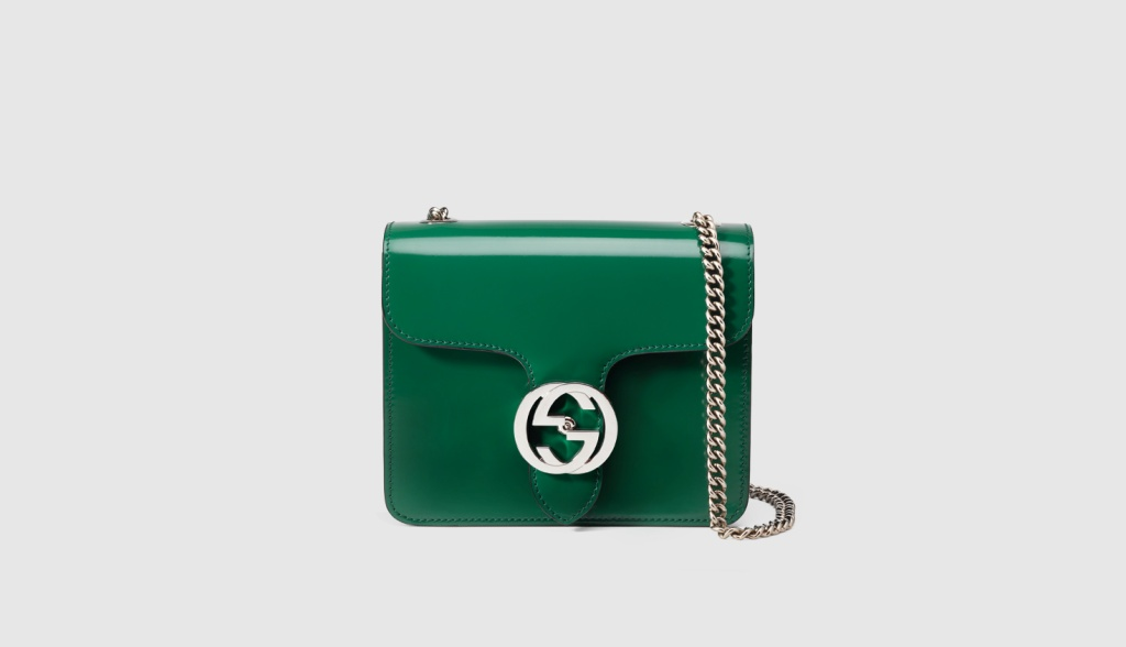 borsa a spalla gucci interlocking in pelle spazzolata lucida 5