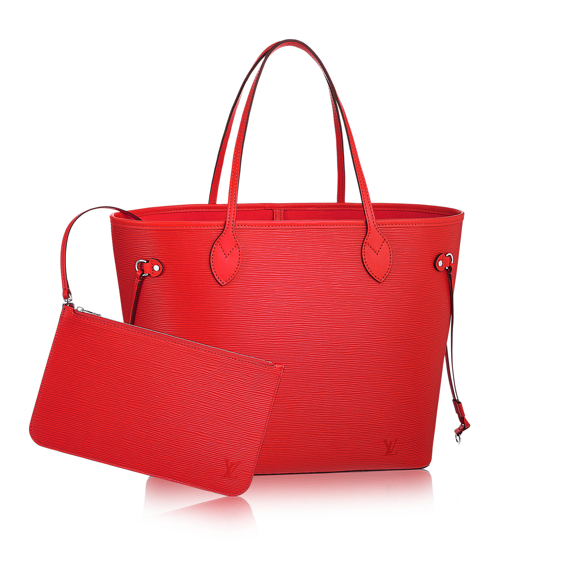 neverful mm coquelicot epi leather