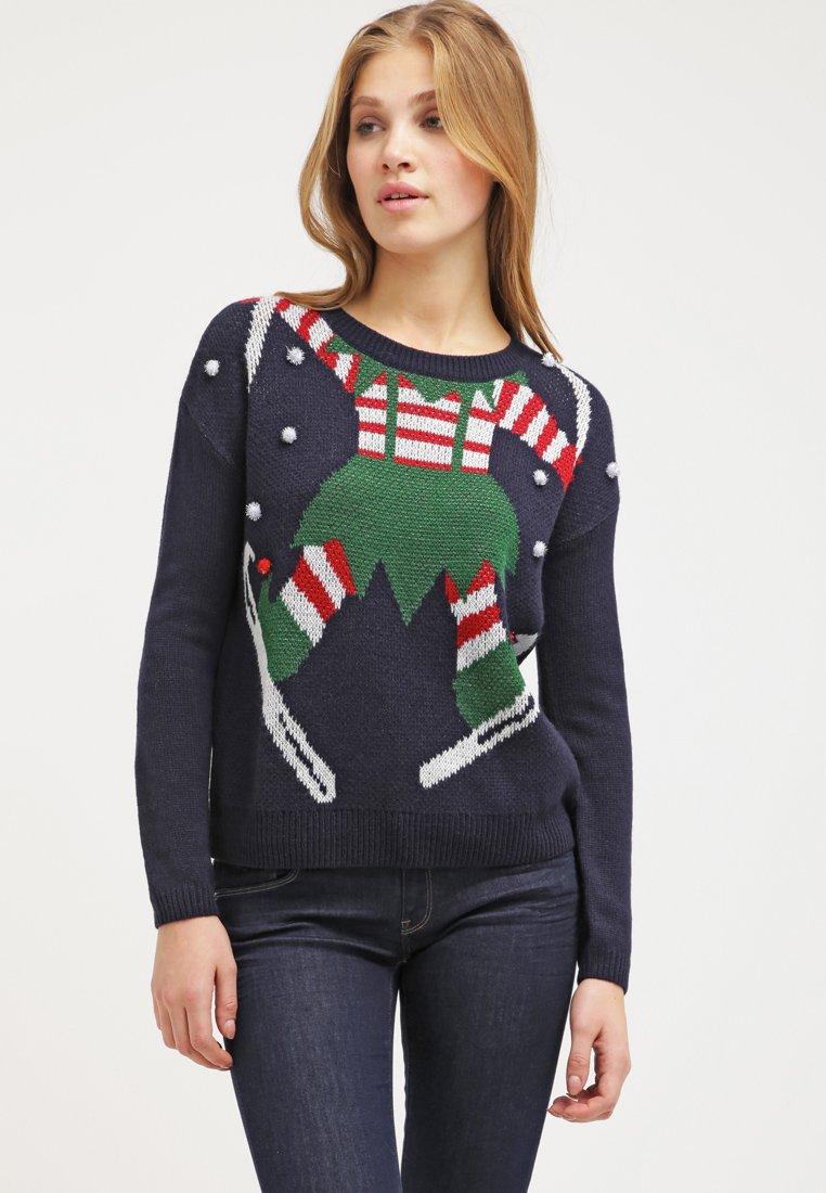 Maglione natalizio blu con decoro