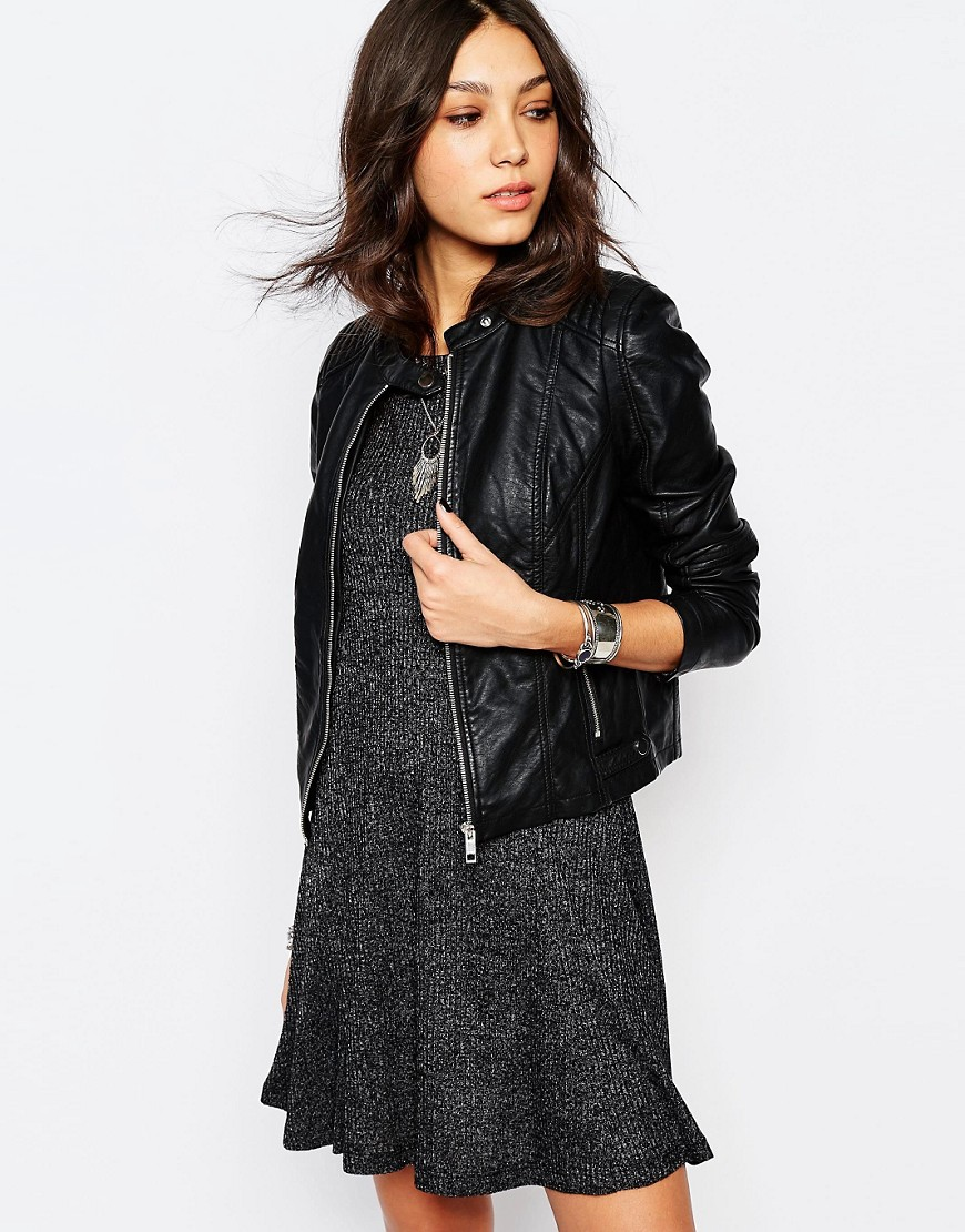 giacca nera pelle primavera 2016