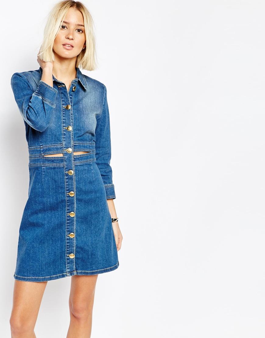 vestito jeans con bottoni primavera 2016