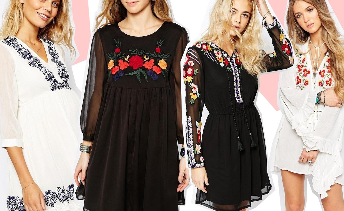 Embroidered dress, i vestiti con ricami in stile boho folk