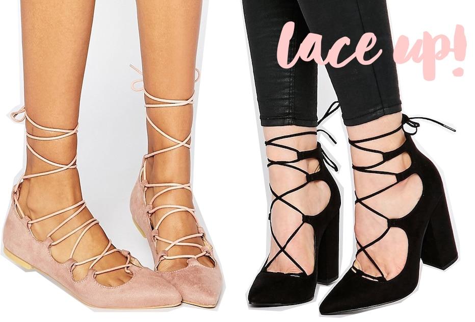 cordones sandalias con I encaje Todavía y bailarinas de con protagonistas Shoesle lKcT1J3uF5