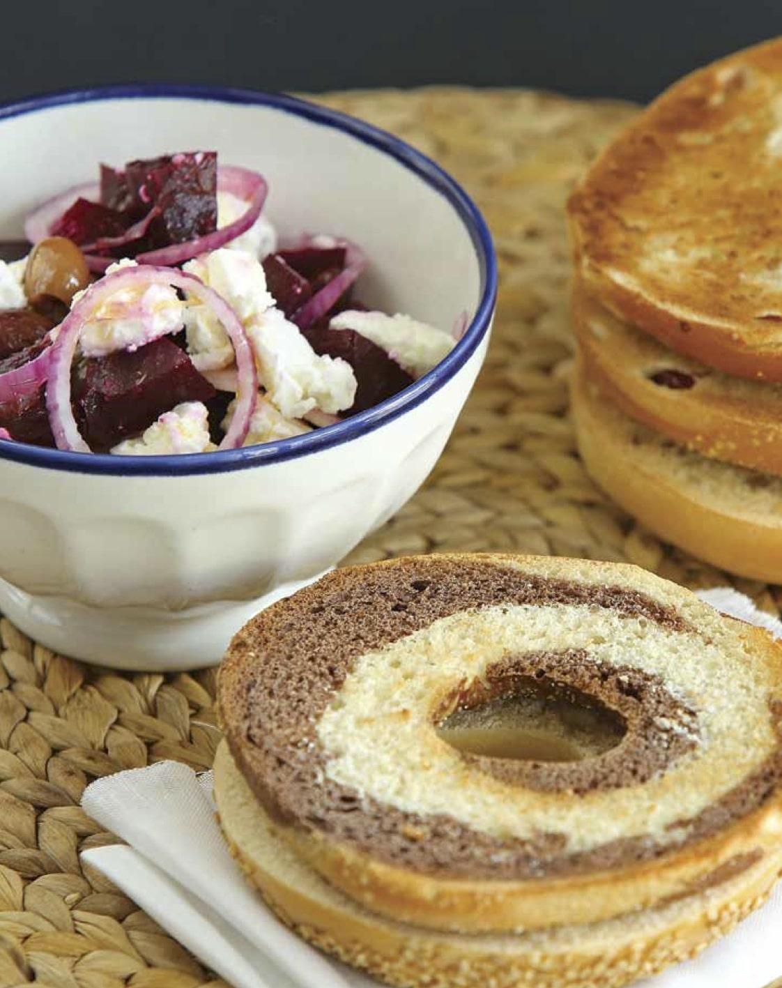 ricetta bagel barbabietola-feta