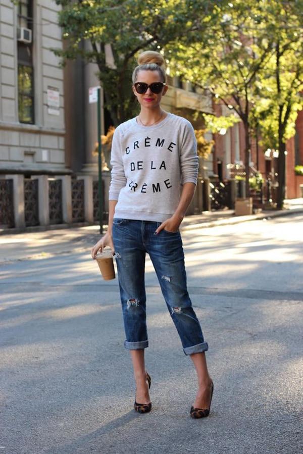 Felpa e jeans boyfriend