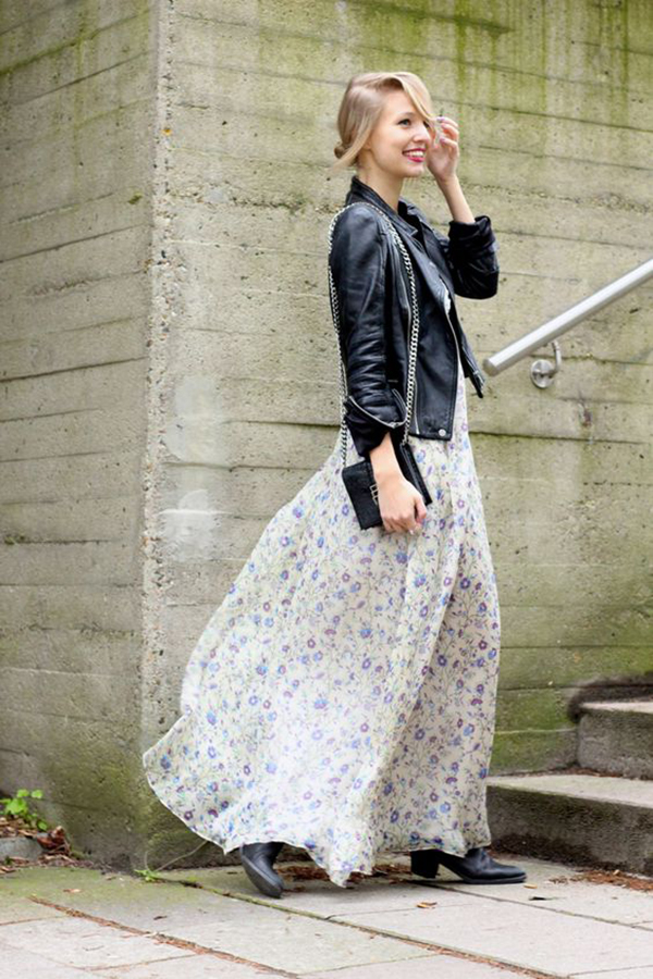 Maxi dress e giacca di pelle