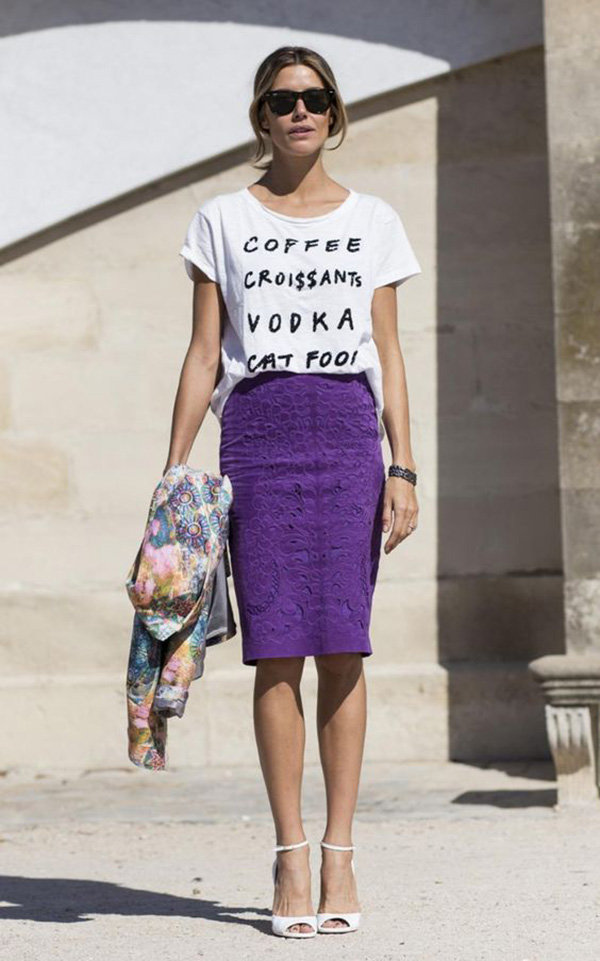 Magliette con le scritte e pencil skirt