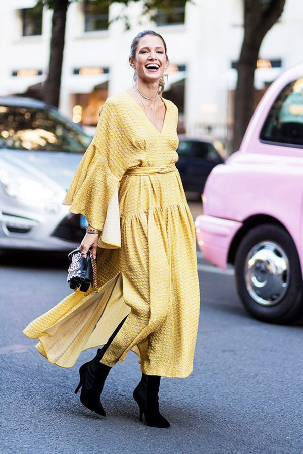 Wrap dress giallo