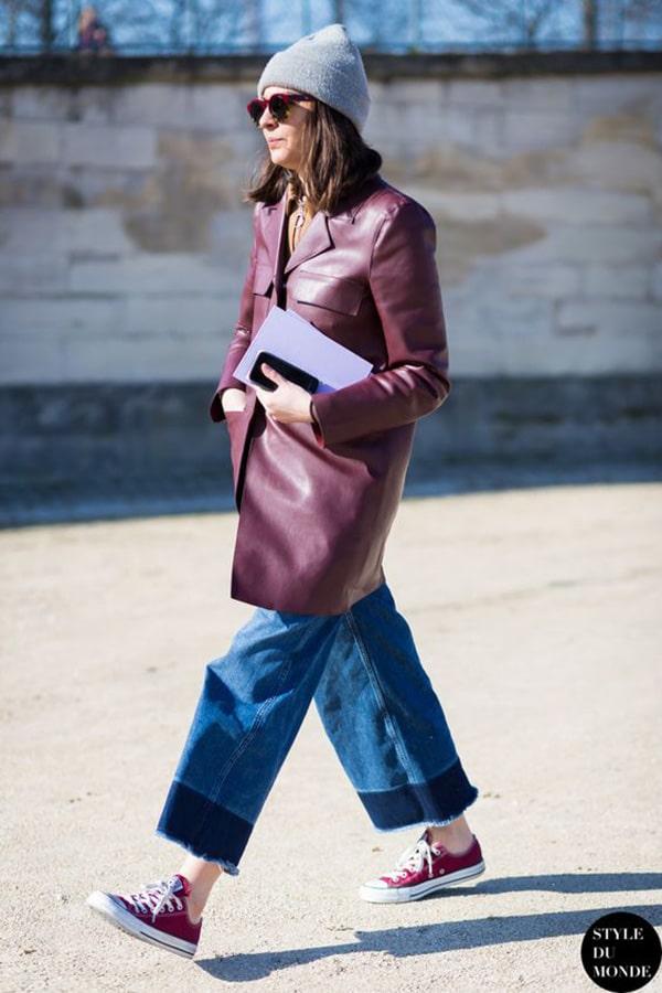 Culotte e giacca di pelle