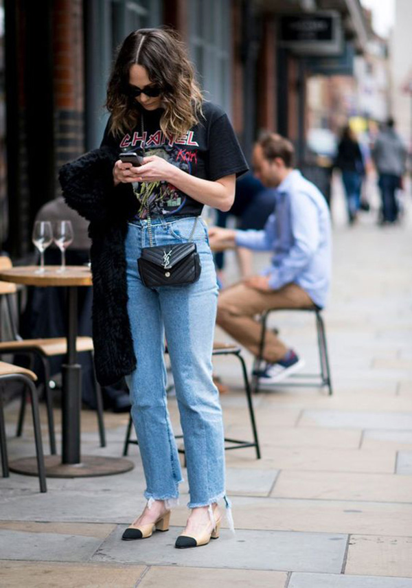 Jeans e slingback
