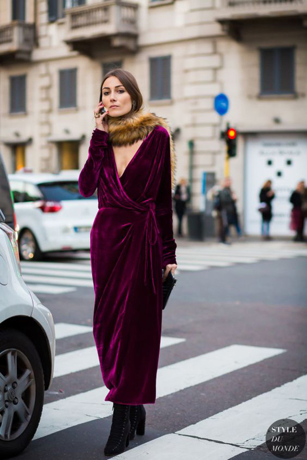 Wrap dress di velluto