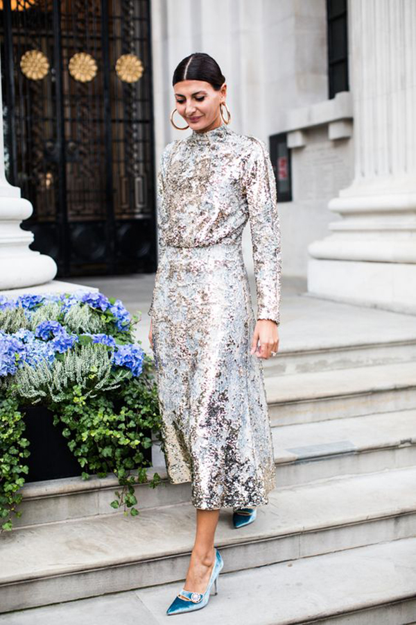 Maxi dress in paillettes