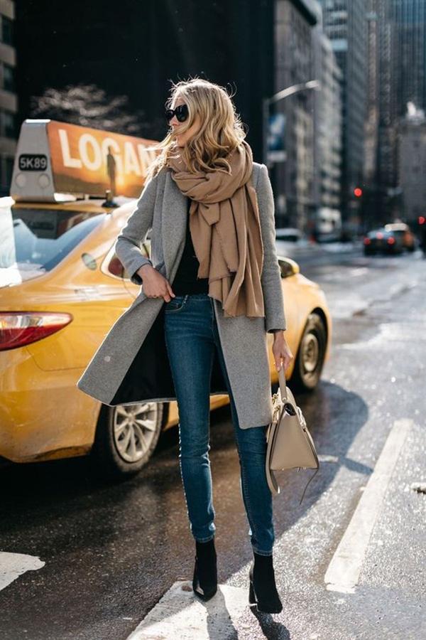 Jeans skinny e cappotto