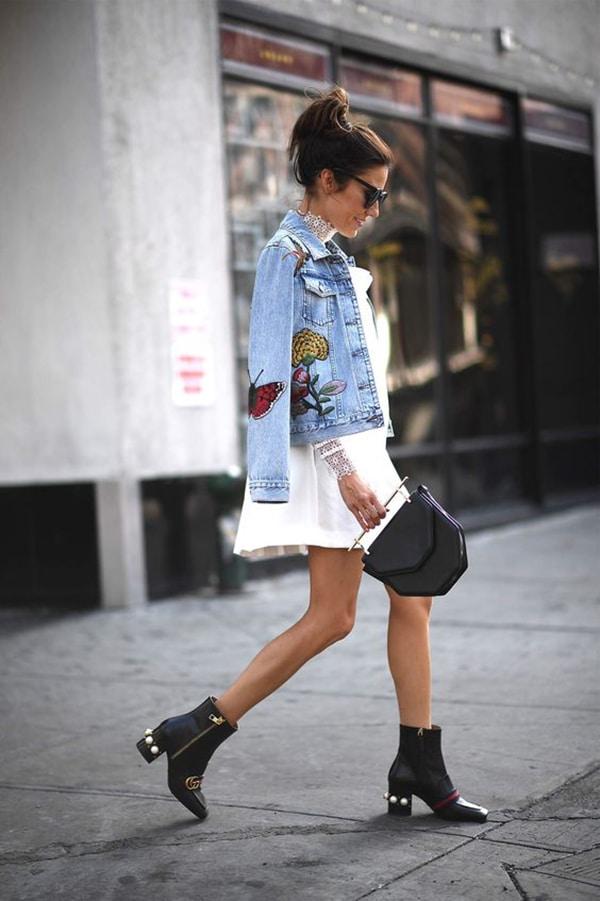 Giacca di jeans e stivaletti