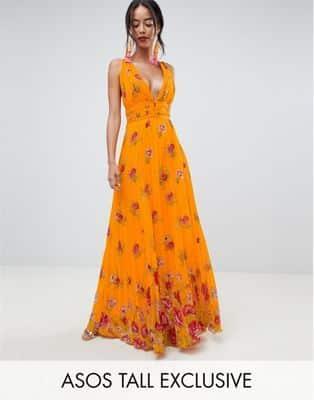 ASOS DESIGN – Vestito lungo a pieghe con spalline sottili a fiori 76 4e6c524e451