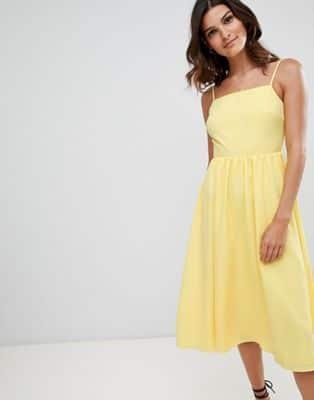 Warehouse – Vestito estivo giallo con scollo squadrato 58 d2325902694