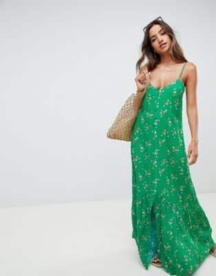 ASOS DESIGN – Vestito lungo a fiorellini con bottoni 44 53da8b220aa