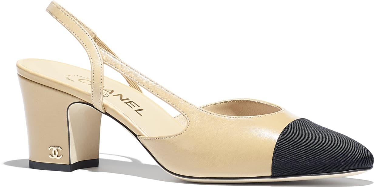 slingback Chanel beige e nere