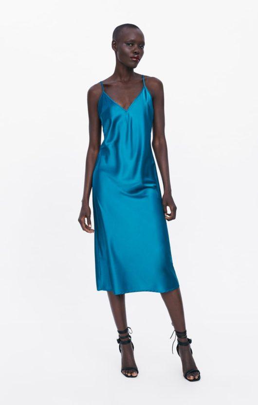 vestito sottoveste blu zara