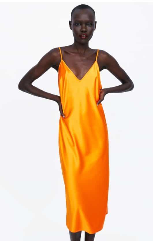 vestito sottoveste arancione zara