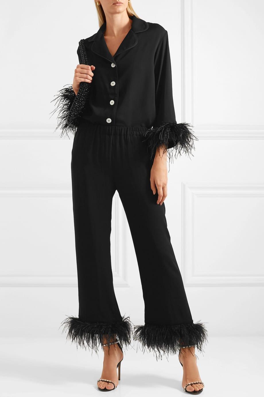 pigiama seta con piume