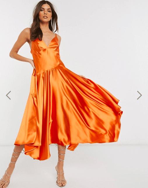 vestito arancione asos
