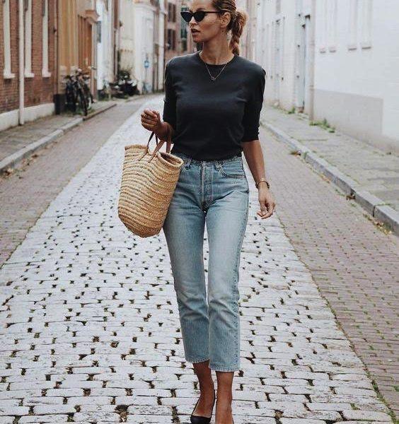 borsetta paglia outfit jeans